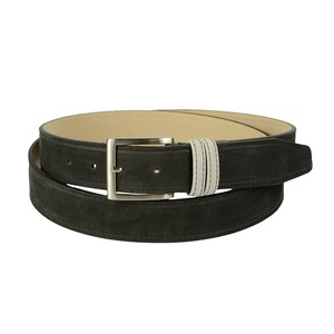 Cintura bicolore in pelle nabuk: nera con passante grigio