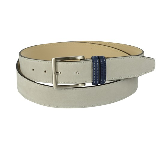 Cintura bicolore in pelle nabuk: grigia con passante blu