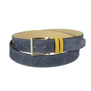 Cintura bicolore in pelle nabuk: azzurra con passante giallo
