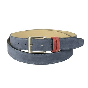 Cintura bicolore in pelle nabuk: azzurro con passante rosso