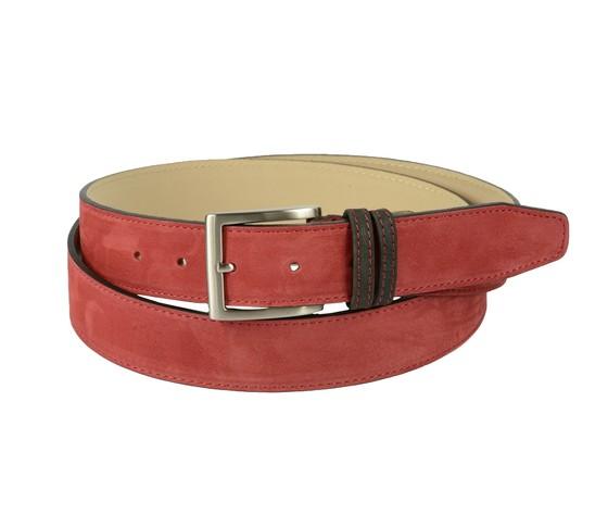 Cintura bicolore in pelle nabuk: rossa con passante marrone