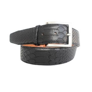 Cintura in pelle di pitone nero con doppia squamatura cucita a mano