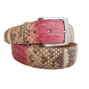 Cintura in pelle di pitone cucita a mano colore rosa