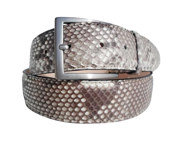 Cintura in pelle di pitone cucita a mano colore roccia