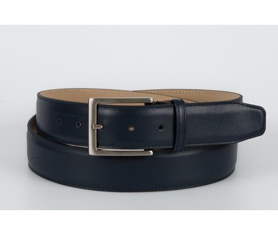 cintura vitello liscio blu 4 cm