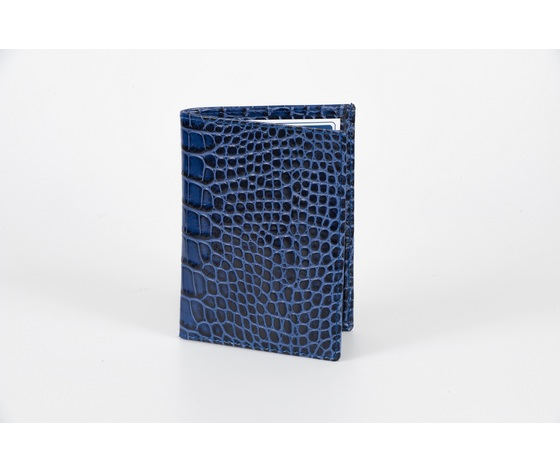 portafoglio verticale vitello stampa cocco blu