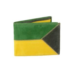 Portafoglio uomo in pelle di vitello nabuk: giallo e verde