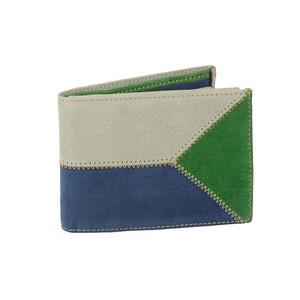 Portafoglio uomo in pelle di vitello nabuk: grigio, blu e verde