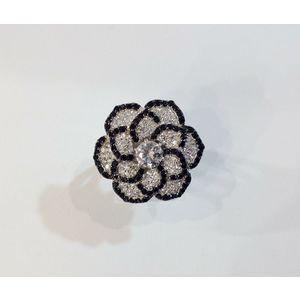 Anello fiore nero e argento Ottaviani