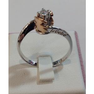anello solitario le bebé  in oro bianco e  in oro rosa LBB223