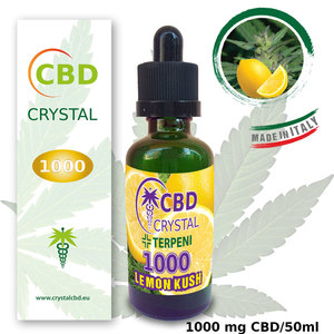 Crystal CBD 1000 Lemon Kush e-liquid con 1000 mg di CBD su 50 ml aroma Cannabis e limone
