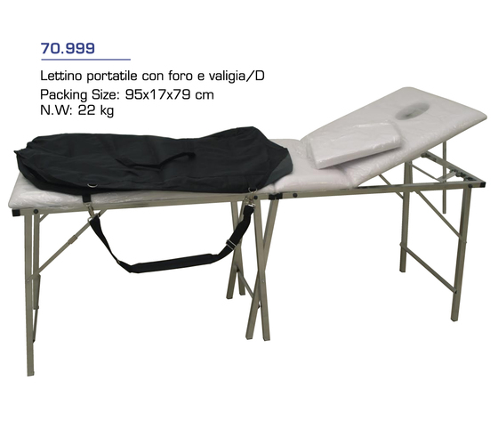 Lettino portatile con foro e valigia