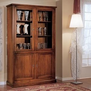 Vetrina 4 porte in legno, colore noce arte Povera, 120x40x185 h, Freeshipping