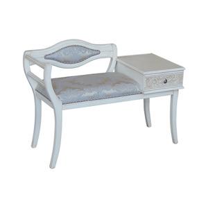 Divanetto in legno bianco decapè, 102x44x71 h, Stoffa centro Veneziano Azzurro, Spedizione Gratis