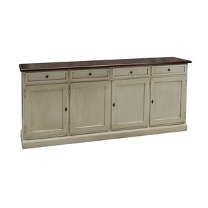 Credenza madia in legno, 205x45x85 h, piano noce, struttura bianco decape' !