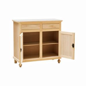 Credenza 2 porte napoletana in legno grezzo essenza naturale, 105x45x98 h
