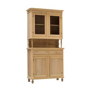 Credenza + Vetrina in legno grezzo, essenza naturale, 105x45x206 h