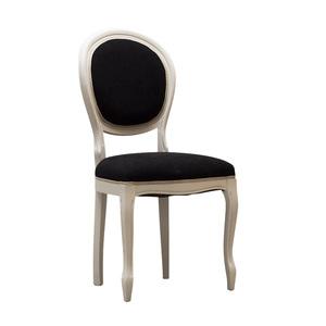 Sedia ovale in legno bianco, imbottitura in stoffa nera, 45x45x85 h