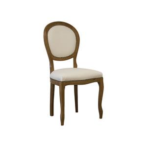 Sedia ovale in legno ciliegio, imbottitura in ecopelle bianco, 45x45x85 h