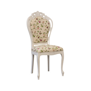 Sedia traforata intagliata, in legno bianco, stoffa di raso fiorellini, 55x45x108 h