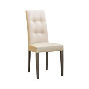 Sedia in legno, ecopelle beige con bottoni, gamba grigio tortora, 40x40x85 h