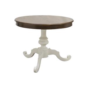 Tavolo rotondo in legno, diametro 100 - 120 allungabile, colore bianco e noce