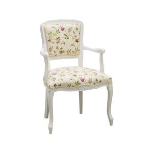 Poltroncina Paris in legno bianco, stoffa fiorellini! 55x45x85 h