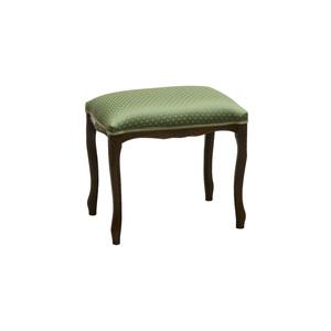Pouf in legno colore noce, stoffa Poìs verde