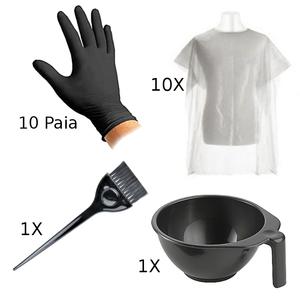 Kit accessori per tintura - ciotola, pennello, guanti, mantelline protettive