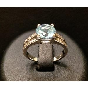 Anello Oro Bianco Topazio e Diamanti