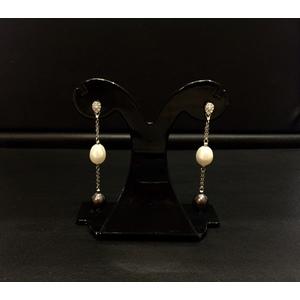 Orecchini Oro Bianco Perle e Diamanti