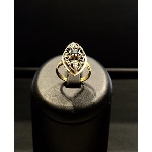 Anello Antico Oro Giallo Argento e Zaffiro