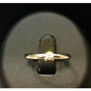 Anello Solitario Oro Bianco e Diamante