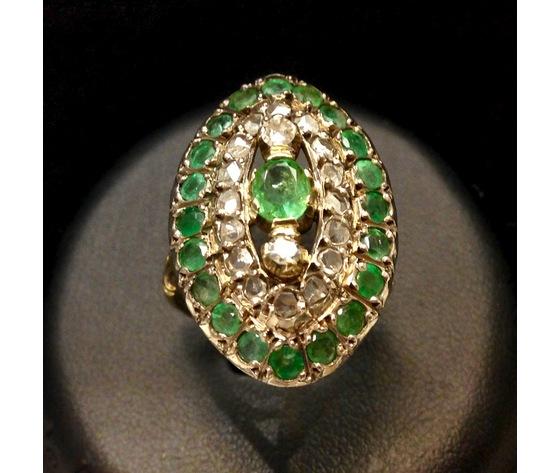 Anello Antico Oro Giallo Smeraldi e Diamanti