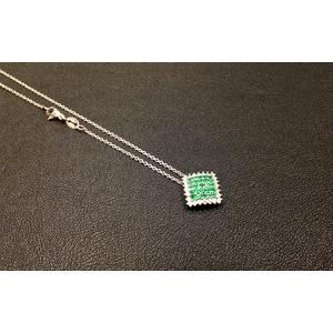 Collana Oro Bianco Smeraldi e Diamanti