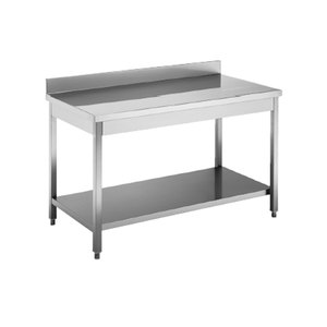 Tavolo da lavoro inox cm 160x70x85h con alzatina