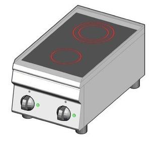Piano cottura elettrico in vetroceramica 2 zone riscaldanti