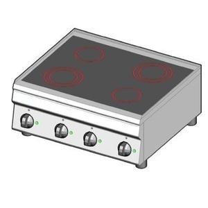 Piano cottura elettrico in vetroceramica 4 zone riscaldanti