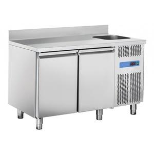 Tavolo refrigerato inox 2 porte con lavello e alzatina