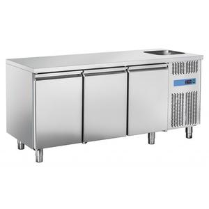 Tavolo refrigerato inox 3 porte con lavello