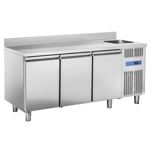 Tavolo refrigerato inox 3 porte con lavello e alzatina