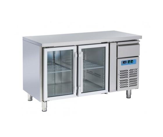 Tavolo refrigerato inox 2 porte in vetro+cassetto neutro