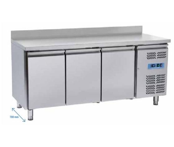 Tavolo freezer inox 3 porte con alzatina