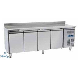 Tavolo freezer inox 4 porte con alzatina