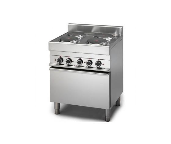 Cucina elettrica 4 piastre con forno elettrico a convezione prof. 65 cm