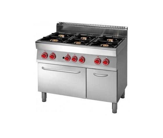 Cucina a gas 6 fuochi su forno elettrico a convenzione+armadio neutro prof. 70 cm