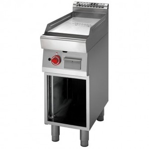 Fry Top a gas piastra liscia cromata+vano aperto prof. 70 cm-ATRC-70/40 FTG-CR