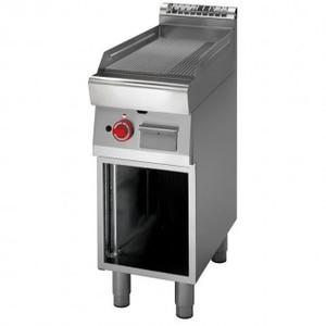 Fry Top a gas piastra rigata+vano aperto prof. 70 cm