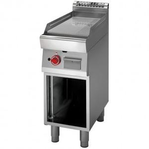 Fry Top a gas piastra rigata cromata+vano aperto prof. 70 cm