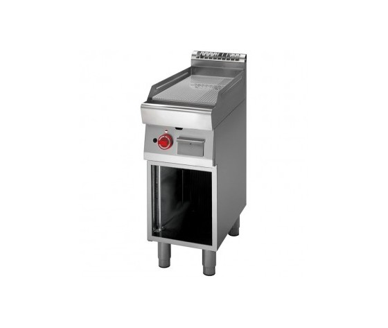 Fry Top a gas piastra rigata cromata+vano aperto prof. 70 cm-ATRC-70/40 FTRG-CR